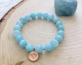 Gorgeous March Birthstone Aquamarine Yoga/Meditation Mala Bracelet w/ Karen Hill Tribe Rose Gold Lotus Charm and Spacer Beads