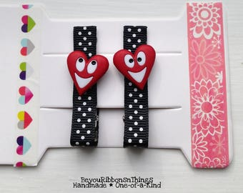 Happy Hearts | Red | Hair Clips for Girls | Toddler Barrette | Kids Hair Accessories | Grosgrain Ribbon | No Slip Grip