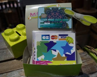 Credit card stickers green and blue stars