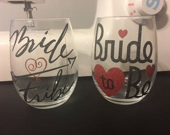 Bridal to be stemless wine glass.