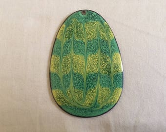 Vintage Enamel on Copper Necklace Pendant