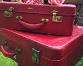 RED Vintage Suitcase Stack  Retro Luggage  Retro Suitcase  Red Retro Vanity Case  Leather Croc Skin Suitcase  Red Home Decor
