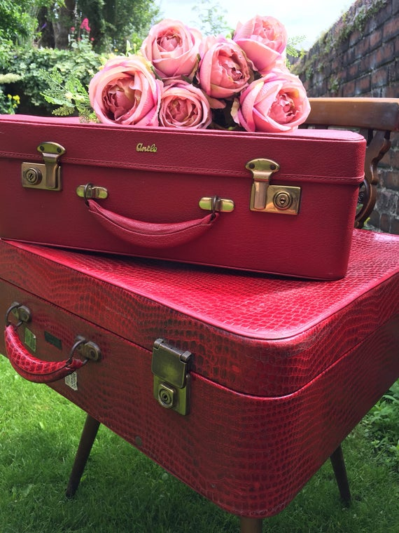 RED Vintage Suitcase Stack | Retro Luggage | Retro Suitcase | Red Retro Vanity Case | Leather Croc Skin Suitcase | Red Home Decor