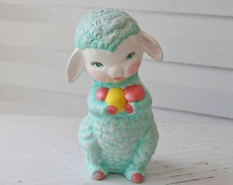 Sweet Kitschy Vintage Turquoise Lamb Figurine-Holding Pink and Yellow Easter Eggs