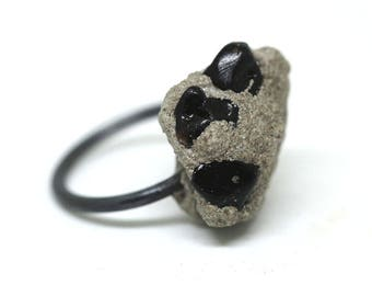 Concrete Ring | Rock Ring | Silver Ring | Oxidised Silver Ring | Black Stone Ring