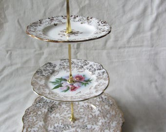 Vintage 3 tier cake stand  of vintage Staffordshire bone china plates. tea party stand, wedding cake. cup cakes. Gold chintz, pink floral