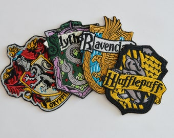 Harry Potter Emblem Gryffindor Slytherin Hufflepuff Ravenclaw Embroidered Patch, Iron On, Sew On, Hogwarts patch, Hogwarts faculty, Movie