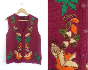 Autumn Sweater Vest Fall Leaves Button Down Vest Knit Cotton Burgundy Red Acorns Pinecones Beaded Applique 90s Womens Waistcoat Small