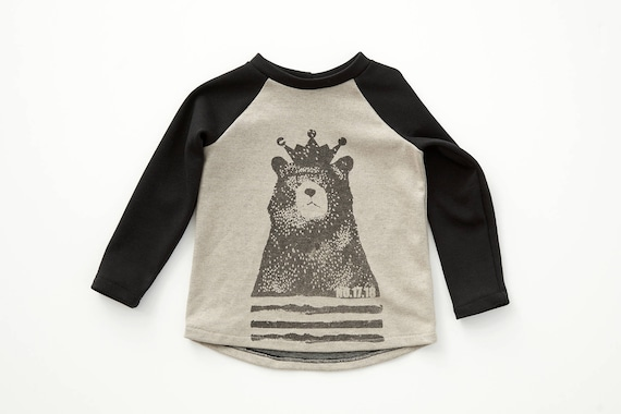 LUPIN - long sleeve baseball shirts with Cokluch Mini No.17.18 bear for kids: boys and girls - vanilla