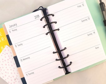 Personal Size Horizontal Week on Two Pages WO2P printed planner inserts - Filofax refill, diary refill, Kikki k, printed personal planner