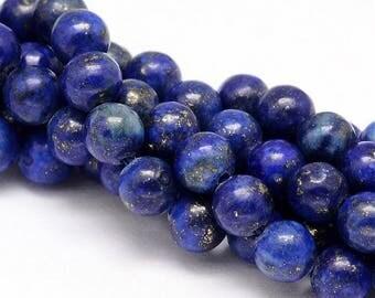"Blue 8mm Round Natural Lapis Lazuli Gemstone Beads (15"" Strand)"