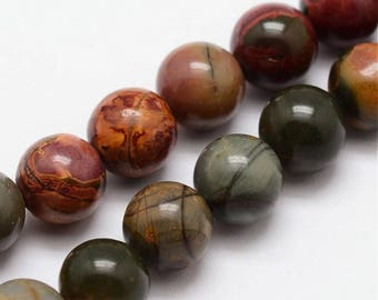 """Colorful Earthtone 8mm Round Natural Picasso Jasper Gemstone Beads (7"""" Strand)"""