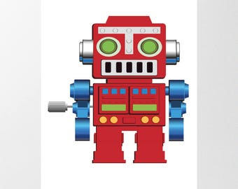 Red Robot Printable Poster, Digital Download, Boys Bedroom Wall Art, Toy Robot Print, Free Custom sizing available, Nursery Decor, Kids Art