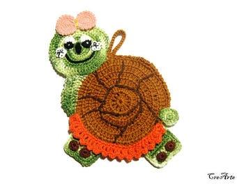 Colorful crochet snail potholder, presina lumaca colorata all'uncinetto