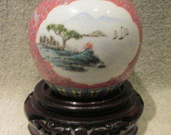 Mum Shou Chinese RARE Ginger Jar Hand Painted Very Rare Pattern Red Vtg China Markings