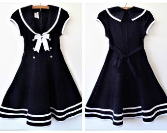 Vintage Sailor Dress, White Navy marine Girl Dress, Made in El Salvador, 12 years