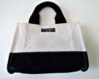 Kate Spade Handbag, KATE SPADE Canvas Bag, Canvas Purse, Kate Spade Purse, Fabric Bag, Small Canvas Bag, Black White Handbag