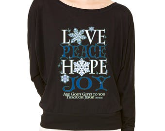 Flowy Shirt Peace Love Hope Joy Long-Sleeve God Gifts To You Flowy Shirt