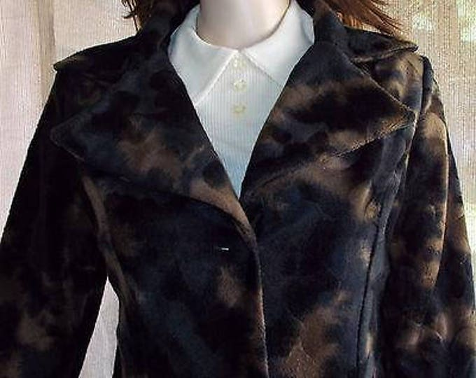 Vintage 90s Boho Hippie Chic Plush Faux Fur Black Bronze Brown Camouflage Womens Long Sleeve Coat Jacket