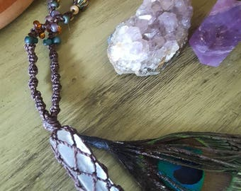 Crystal Quartz wrapped necklace with peacock feather
