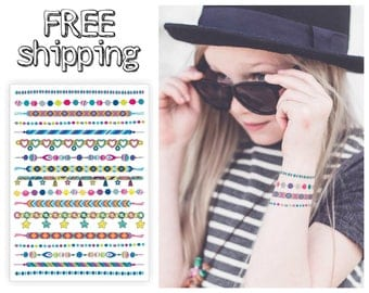 "Temporary tattoo set of bracelets ""Arm candy"". Chain with charms, hippie friendship bracelets. Girls gift, party bag supply. TA049"