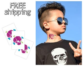 Set of 3 tatts «Skull, bona and arrow». Halloween and pirate party bag supply. TT194