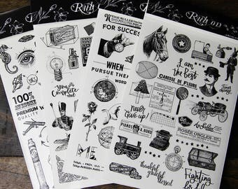Vintage style rub-ons stickers sheet,Set of 4, planner,junk journal,bullet journal,travel journal stickers,transfer stickers