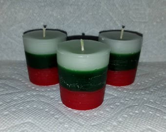 Candy Cane Votive Candles, Christmas Candles, Christmas Decor, Wedding Favors, set of six votive candles