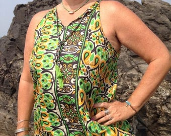 Silk Tank Top made from Indian Silk Saris  // Silk Blouse //Resort Wear  // Clothing from India  // Gifts for Her // Green Tank Top // Tank