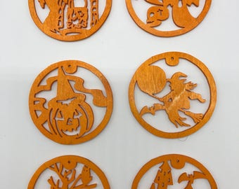 Halloween Ornament Set #1 - Orange Painted Plywood