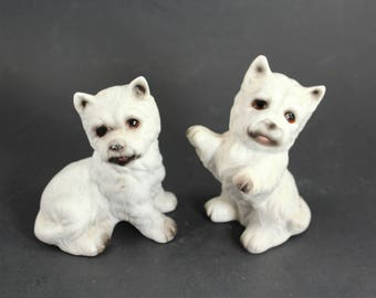 Two vintage Westie dog figurines - West Highland White Terrier, bone china, porcelain, small, figure, nice detail!