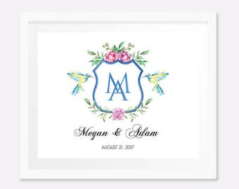 Personalized engagement gifts, Engagement present, Anniversary gifts for couples, Monogram Print, Monogram wedding gift, Digital File