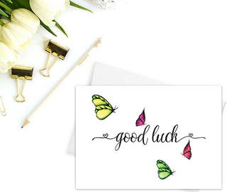 Good luck card, Greeting cards blank inside, Greeting cards handmade, Butterfly cards, Cute stationery, Good luck gifts