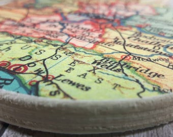 Custom UK Map Coasters, Set of 6, you choose your favourite UK areas, Wanderlust Gifts, Map decoupage,