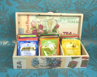 Wooden Tea 3 Compartments Box or Caddy, with 20 Assorted Herbal Teas