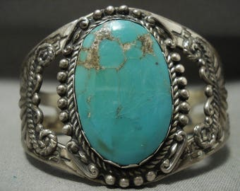 Huge Early 1900's Vintage Navajo 'Earth Blue Turquoise' Silver Bracelet