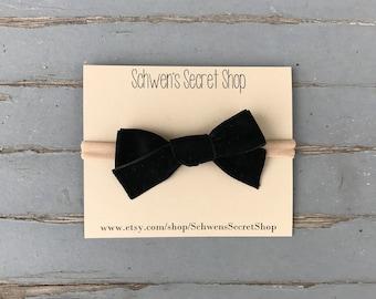 black velvet bow, baby girl headband, baby hair bow, hand tied bow, nylon headband, baby bow headband, infant headband, baby headband