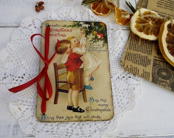 Christmas card Wooden cards Greeting card Vintage style postcard Merry Christmas Victorian Christmas wood card Christmas gift Happy New year