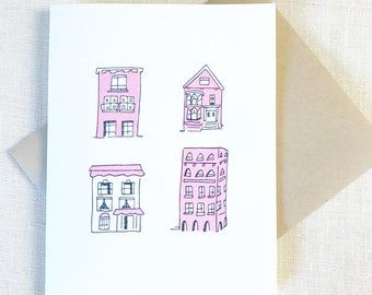 PINK HOUSES Greeting Card, Best Friend Card, Thank you card, Pink Gift, New Home congrats card, Congrats New Home, Wedding Card