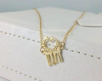 Giraffe Necklace - Giraffe Jewelry - Animal Jewelry - Giraffe Pendant - Zoo - Animals - Gift Ideas - Christmas Gift - Sister Gift - Silver