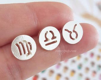 Zodiac Earrings - Zodiac Signs - Astrological Signs - Birthday Gift - Personalized Jewelry - Studs Earrings - Silver - Sister Gift - Mother
