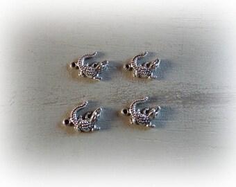 4 14 * 17mm silver crocodile charms