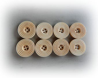 8 buttons wood ribbed beige 25 mm