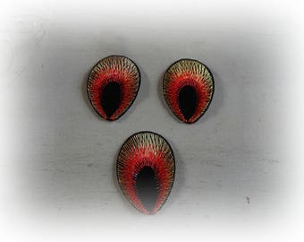 3 patches fusible patch / applique 53 * 40 mm black and orange Peacock eye