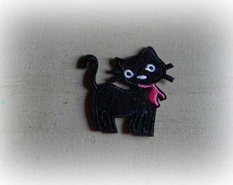 1 patch fusible patch / applique bow black cat pink 5 cm