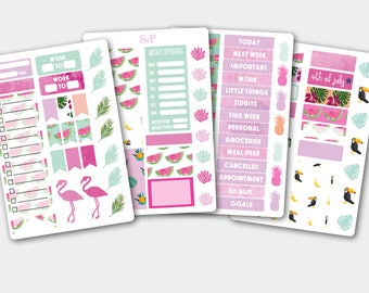 Weekly Sticker Kit Tucan, Summer Sticker Kit, Beautiful Planner Kit, Sticker Planner Kit, Sticker Set in Pink Mint, Mint Stickers,Weekly Kit