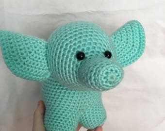 READY TO SHIP handmade crochet amigurumi art toy stuffed animal toy free-standing large elephant plushie