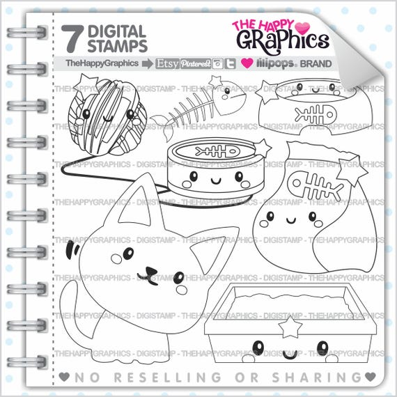 Cat Stamp 80OFF Commercial Use Digi Stamp Digital Image Cat Party Cute Stamp Pet Clipart