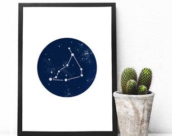 Capricorn Print - Horoscope Print - Astrology Wall Art - Astrology Print - Minimalist Prints - Astronomy - Horoscope Sign - Constellation