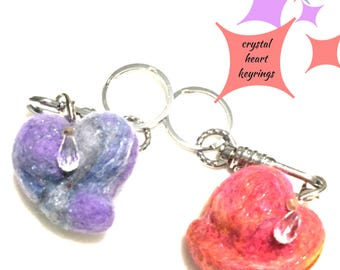 Felted Heart Key Rings, Crystal Heart Bag Dangles, Novelty Heart Key Rings, Hand Crafted Key Rings, Bag Charms, Felted Charms